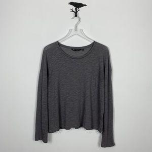 Athleta Gray Long Sleeve Burnout T-Shirt